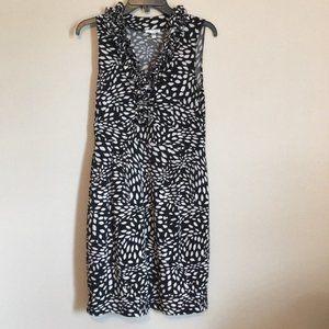 London Style Ruffle Neck Pattern Stretch Dress